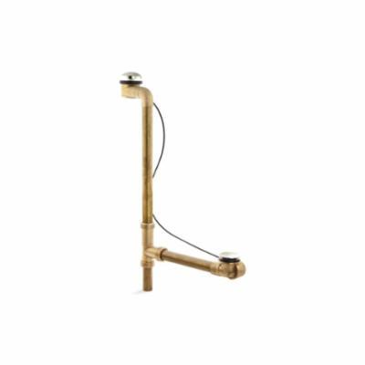 Kohler® 7273-SN Horizontal Overflow Bath Drain, Clearflo®, 1-1/2 in, Brass Drain
