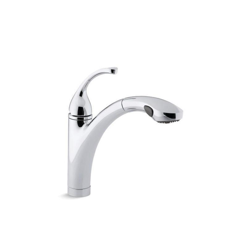 Kohler® 10433-CP Forte® Kitchen Sink Faucet, 1.8 gpm Flow Rate, High-Arc Swivel Spout, Polished Chrome, 1 Handles, 1/3 Faucet Holes