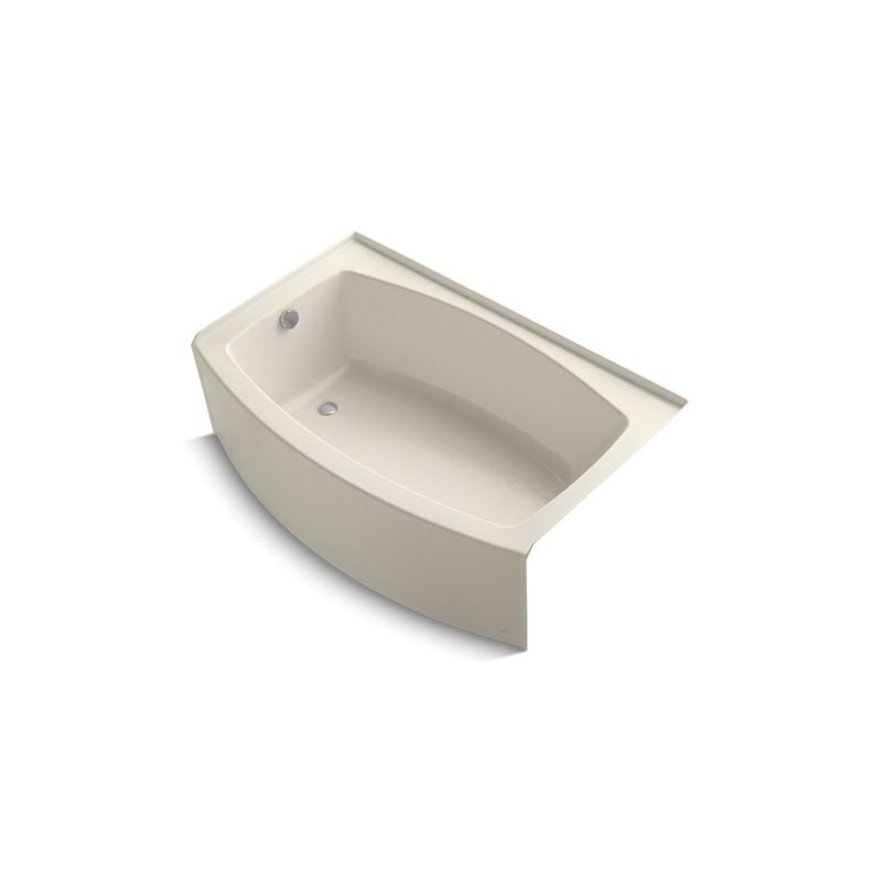 Kohler® 1100-LA-47 Bathtub With Integral Flange, Expanse®, Soaking Hydrotherapy, Curved Shape, 60 in L x 38 in W, Left Drain, Almond