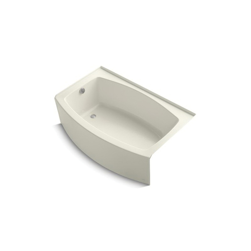 Kohler® 1100-LAW-96 Bathtub With Integral Apron, Expanse®, Soaking Hydrotherapy, Curved Shape, 60 in L x 38 in W, Left Drain, Biscuit