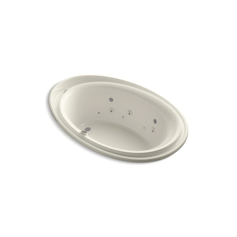 Kohler® 1110-AH-96 Bathtub With Spa Package, Purist®, Chromatherapy/Effervescence/Whirlpool, Oval Shape, 72 in L x 46 in W, End Drain, Biscuit