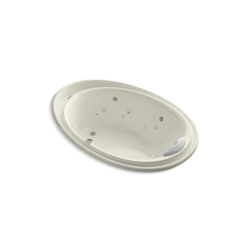 Kohler® 1110-V-96 Bathtub With Spa/Massage Package, Purist®, Backjets/Chromatherapy/Effervescence/Neckjets/Whirlpool, Oval Shape, 72 in L x 46 in W, End Drain, Biscuit