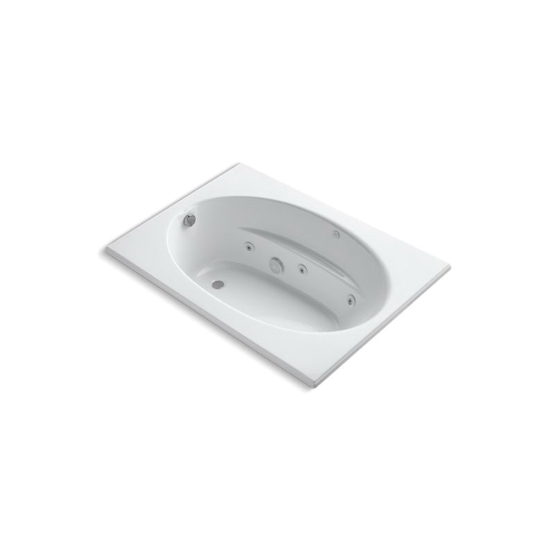 Kohler® 1112-CB-0 Bathtub With Custom Pump Location, Windward®, Whirlpool, Oval Shape, 60 in L x 42 in W, End Drain, White