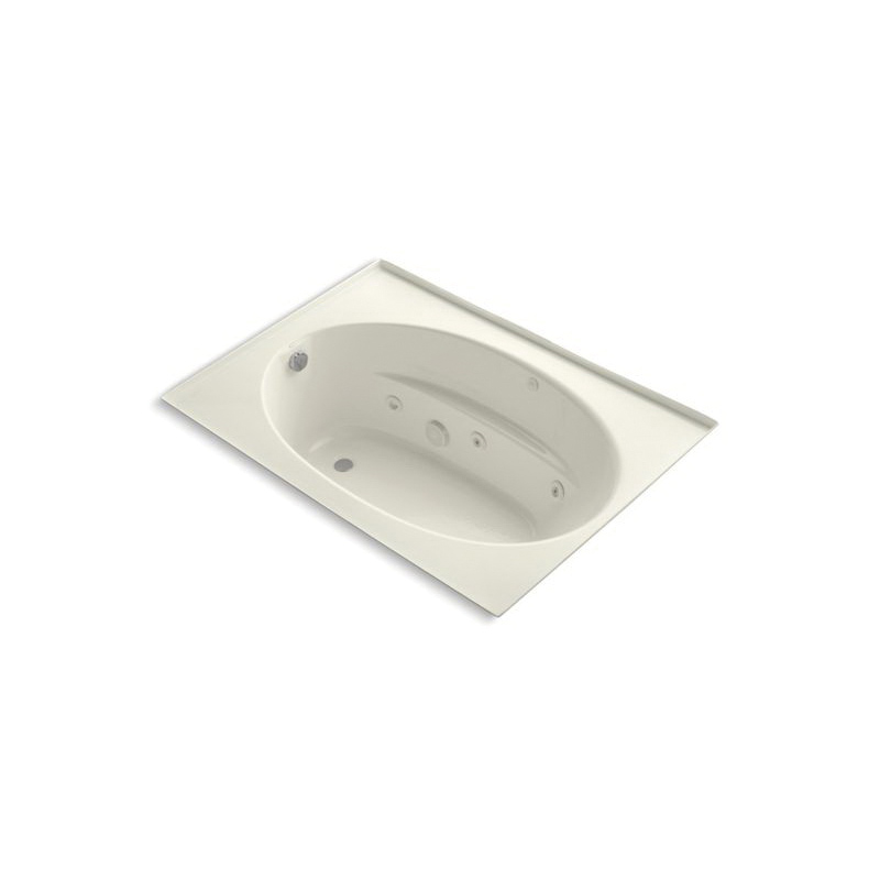 Kohler® 1112-F-96 Tile-In Bathtub With Integral Flange, Windward®, Whirlpool, Oval, 60 in L x 42 in W, End Drain, Biscuit
