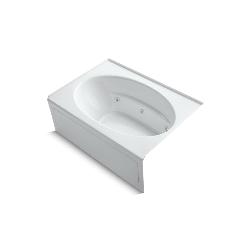 Kohler® 1112-RA-0 Bathtub With Integral Front Apron, Windward®, Whirlpool, Oval, 60 in L x 42 in W, Right Drain, White