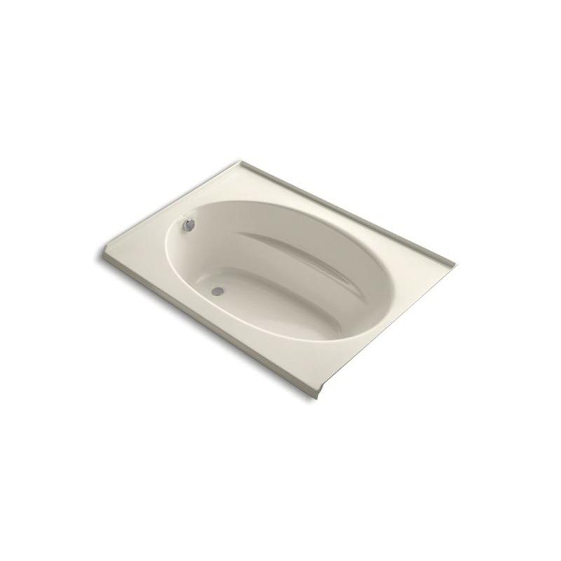 Kohler® 1113-L-47 Bathtub With Integral Flange, Windward®, Soaking Hydrotherapy, Oval, 60 in L x 42 in W, Left Drain, Almond
