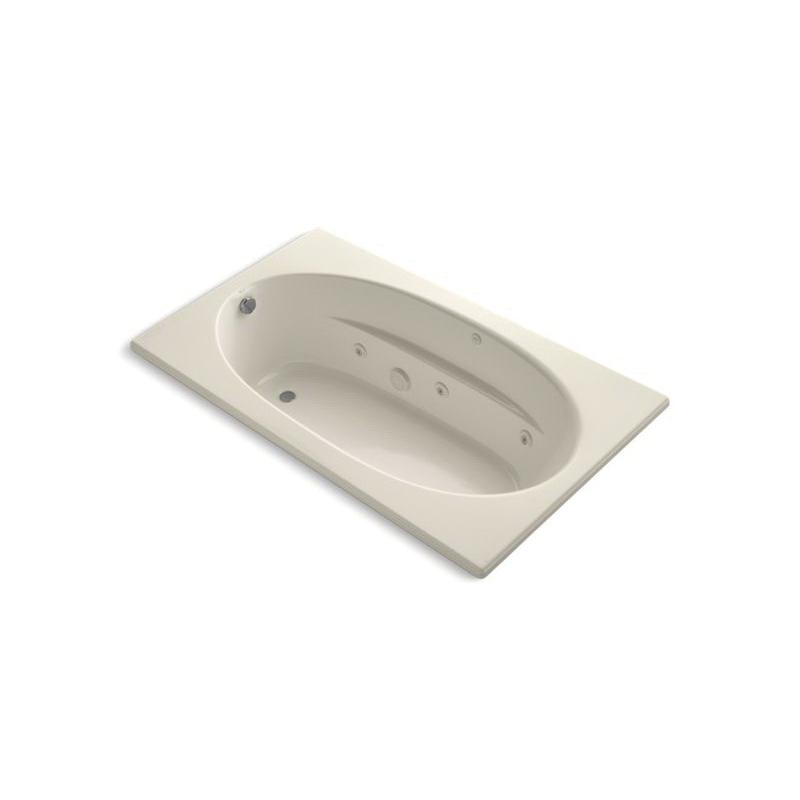 Kohler® 1114-HB-47 Bathtub With Heater and Custom Pump Location, Windward®, Whirlpool, Oval Shape, 72 in L x 42 in W, End Drain, Almond