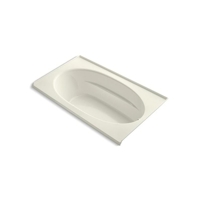 Kohler® 1114-GRF-96 Bathtub With Integral Flange, Windward®, BubbleMassage™, Oval Shape, 72 in L x 42 in W, Right Drain, Biscuit