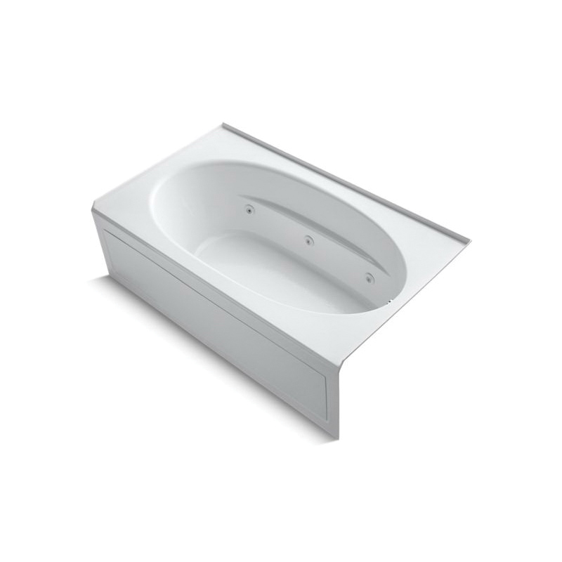 Kohler® 1114-HR-0 Bathtub With Integral Apron and Heater, Windward®, Whirlpool, Oval, 72 in L x 42 in W, Right Drain, White