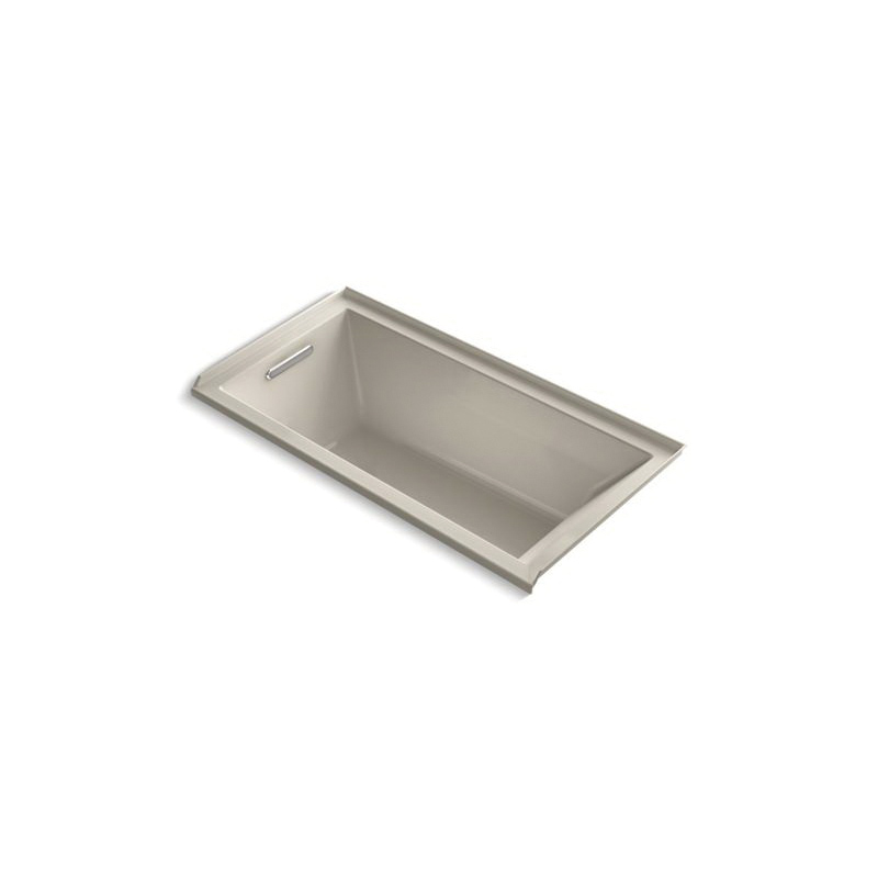 Kohler® 1121-L-G9 Bathtub With Integral Flange, Underscore®, Soaking Hydrotherapy, Rectangular, 60 in L x 30 in W, Left Drain, Sandbar