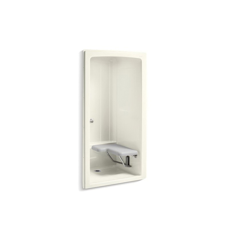 Kohler® 12100-C-96 1-Piece Shower Stall With Brushed Stainless Steel Grab Bars, Freewill®, 45 in L x 37-1/4 in W x 84 in H, Acrylic, Biscuit