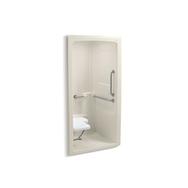 Kohler® 12101-C-47 1-Piece Shower Stall With Brushed Stainless Steel Grab Bars, Freewill®, 45 in L x 37-1/4 in W x 84 in H, Acrylic, Almond