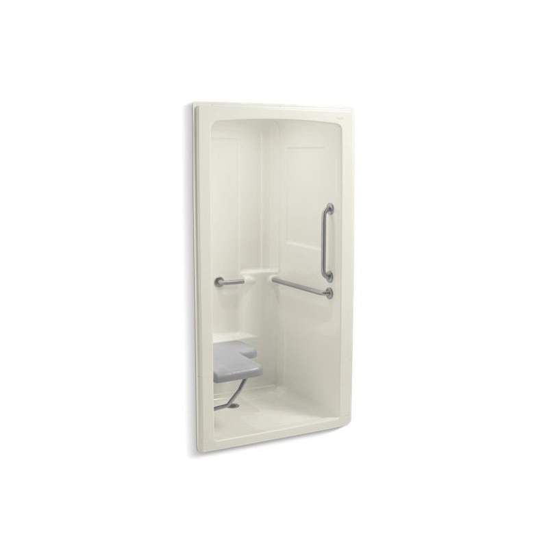 Kohler® 12101-C-96 1-Piece Shower Stall With Brushed Stainless Steel Grab Bars, Freewill®, 45 in L x 37-1/4 in W x 84 in H, Acrylic, Biscuit