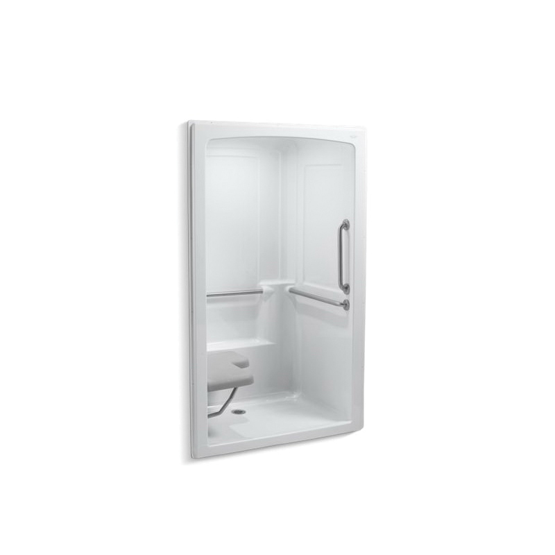 Kohler® 12111-C-0 1-Piece Shower Stall With Brushed Stainless Steel Grab Bars, Freewill®, 52 in L x 37-1/2 in W x 84 in H, Acrylic, White