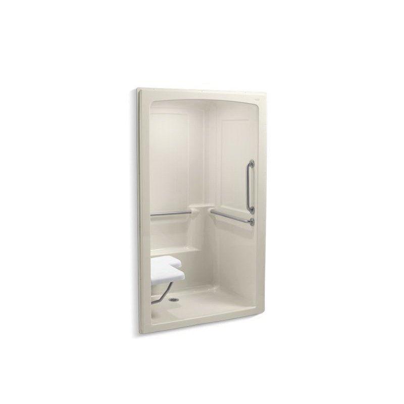 Kohler® 12111-C-47 1-Piece Shower Stall With Brushed Stainless Steel Grab Bars, Freewill®, 52 in L x 37-1/2 in W x 84 in H, Acrylic, Almond