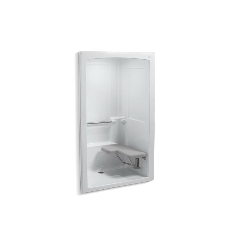 Kohler® 12112-C-0 1-Piece Shower Stall With Brushed Stainless Steel Grab Bars, Freewill®, 52 in L x 37-1/2 in W x 84 in H, Acrylic, White