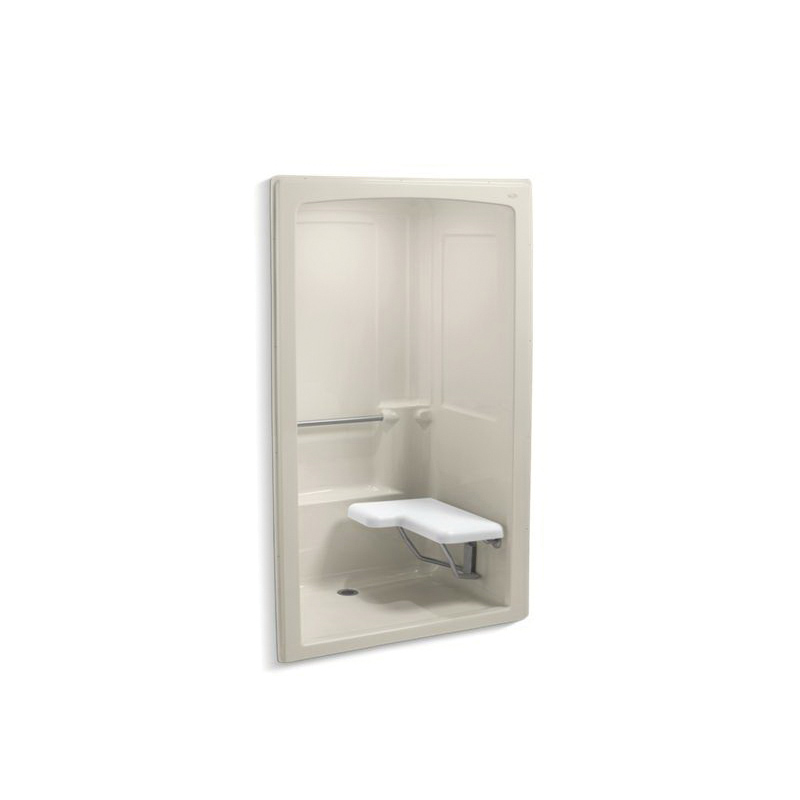 Kohler® 12112-C-47 1-Piece Shower Stall With Brushed Stainless Steel Grab Bars, Freewill®, 52 in L x 37-1/2 in W x 84 in H, Acrylic, Almond
