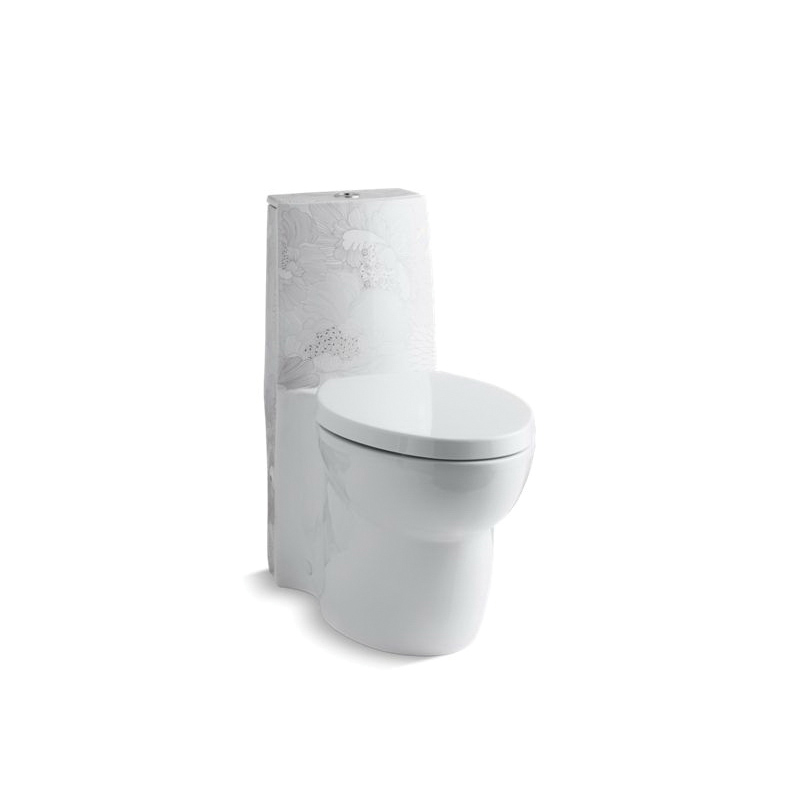 Kohler® 14338-SMC-0 Empress Bouquet™ On Saile® 1-Piece Toilet With Top Actuator, Elongated Front Bowl, 15 in H Rim, 12 in Rough-In, 0.8/1.6 gpf Flush Rate, White