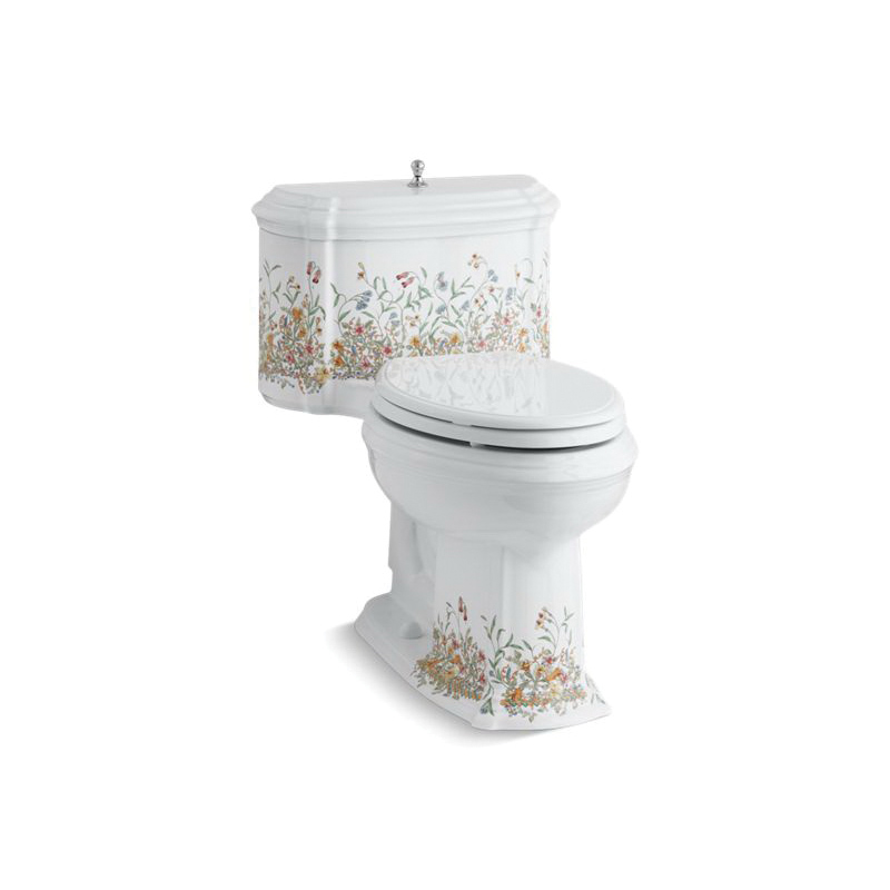 Kohler® 19002-FL-0 English Trellis™ On Portrait® Comfort Height® 1-Piece Toilet, Compact Elongated Front Bowl, 12 in Rough-In, 1.28 gpf Flush Rate, White