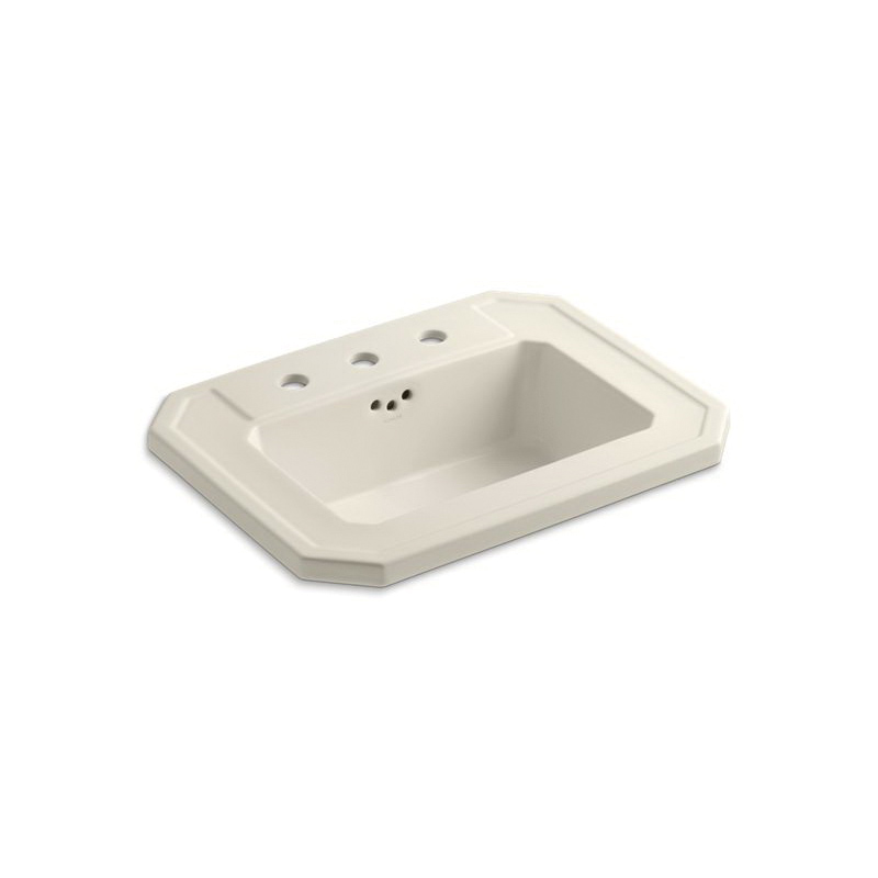 Kohler® 2325-8-47 Self-Rimming Bathroom Sink With Overflow, Kathryn®, Rectangular Shape, 8 in Faucet Hole Spacing, 24 in W x 19 in D x 7-7/8 in H, Drop-In Mount, Vitreous China, Almond