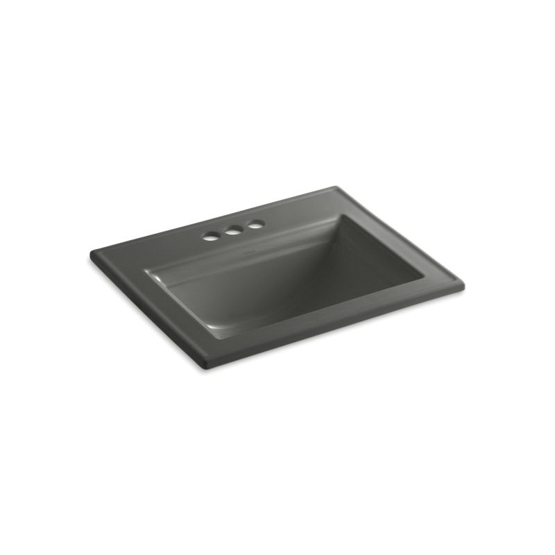 Kohler® 2337-4-58 Elegant Self-Rimming Bathroom Sink With Overflow, Memoirs®, Rectangular Shape, 4 in Faucet Hole Spacing, 22-3/4 in W x 18 in D x 8-7/8 in H, Drop-In Mount, Vitreous China, Thunder™ Gray