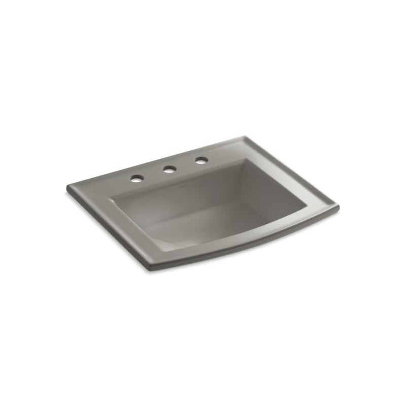 Kohler® 2356-8-K4 Self-Rimming Bathroom Sink With Overflow, Archer®, Rectangular Shape, 8 in Faucet Hole Spacing, 22-5/8 in W x 19-7/16 in D x 7-7/8 in H, Drop-In Mount, Vitreous China, Cashmere
