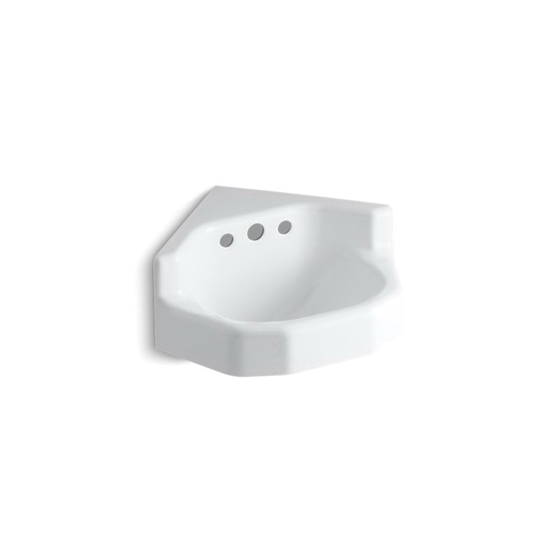 Kohler® 2766-EH-0 Corner Bathroom Sink With Overflow, Marston™, Neo-Angle, 2-3/4 in Faucet Hole Spacing, 20-3/8 in W x 16 in D, Wall Mount, Cast Iron, White