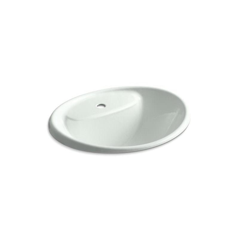 Kohler® 2839-1-FF Bathroom Sink With Overflow, Tides®, Oval Shape, 20 in W x 17 in D x 9-5/16 in H, Drop-In Mount, Enameled Cast Iron, Sea Salt™