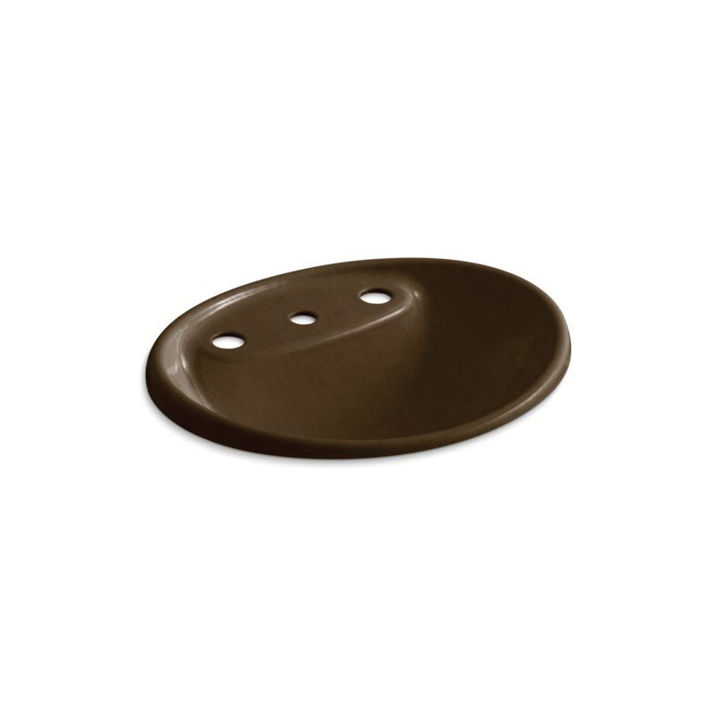 Kohler® 2839-8-KA Bathroom Sink With Overflow, Tides®, Oval Shape, 8 in Faucet Hole Spacing, 20 in W x 17 in D x 9-5/16 in H, Drop-In Mount, Enameled Cast Iron, Black 'n Tan