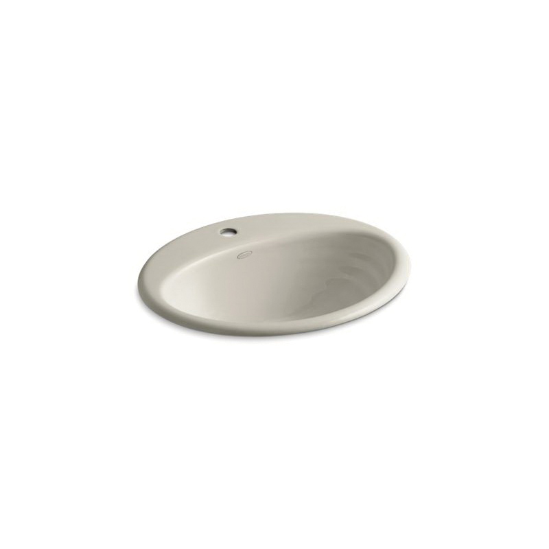 Kohler® 2906-1-G9 Self-Rimming Bathroom Sink With Overflow, Ellington®, Oval Shape, 19-1/4 in W x 16-1/4 in D x 8-7/16 in H, Drop-In Mount, Enameled Cast Iron, Sandbar