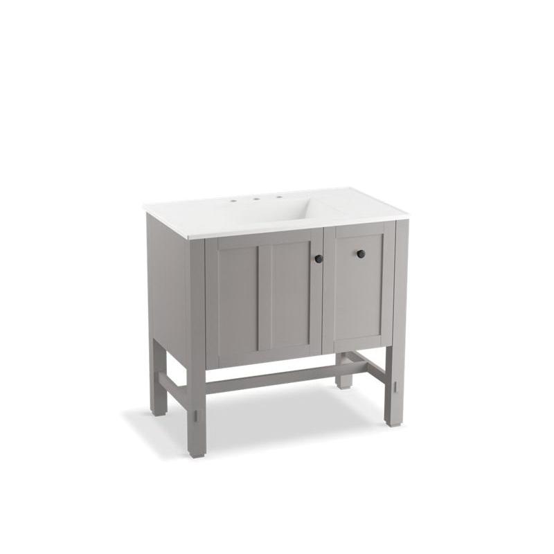 Kohler® 5288-1WT Vanity, Tresham®, 34-1/2 in OAH x 36 in OAW x 22 in OAD, Freestanding Mount, Mohair Gray Cabinet