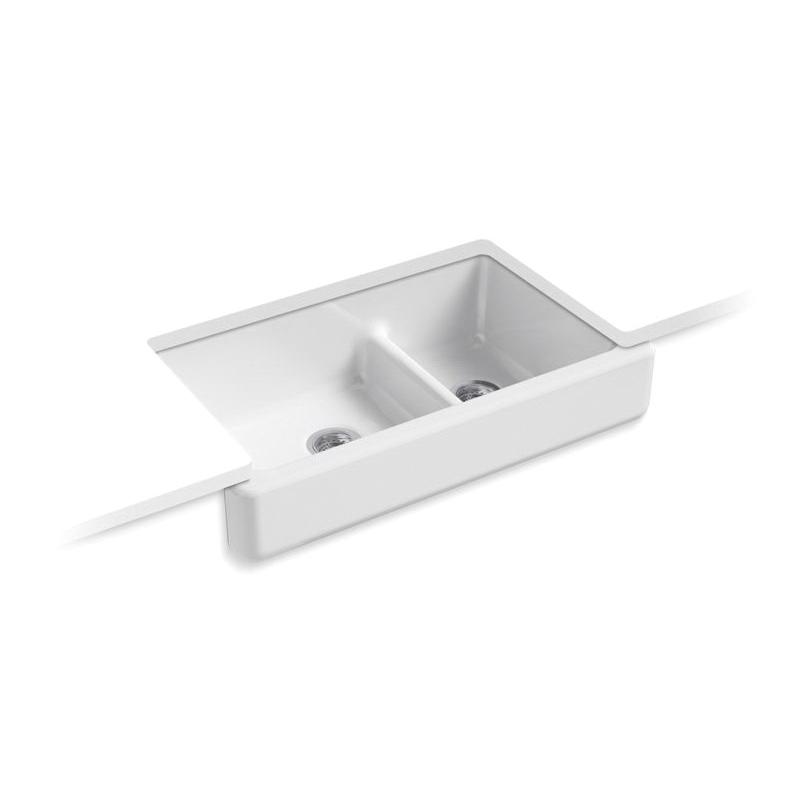 Kohler® 6426-0 Self-Trimming Kitchen Sink With Short Apron, Whitehaven®, Rectangular, 21-9/16 in W x 9-5/8 in H, Under Mount, Cast Iron, White