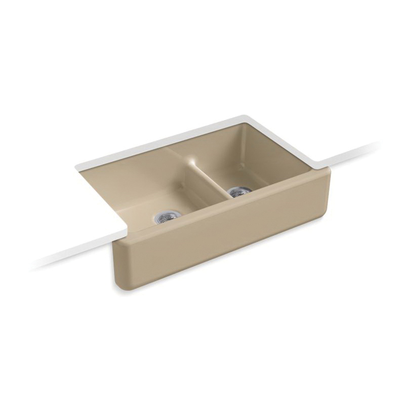 Kohler® 6427-33 Self-Trimming Kitchen Sink, Whitehaven®, Rectangular, 21-9/16 in W x 9-5/8 in H, Under Mount, Cast Iron, Mexican Sand™