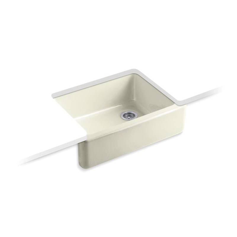 Kohler® 6487-FD Self-Trimming Kitchen Sink With Tall Apron, Whitehaven®, Squared Shape, 21-9/16 in W x 9-5/8 in H, Under Mount, Cast Iron, Cane Sugar™
