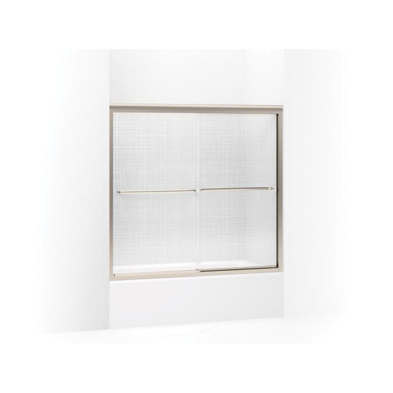 Kohler® 702204-G73-ABV Sliding Bath Door, Frameless Frame, Tempered Cavata Glass, Anodized Brushed Bronze, 1/4 in THK Glass, 51-7/16 in H Opening, 56-5/8 to 59-5/8 in W Opening, Fluency®