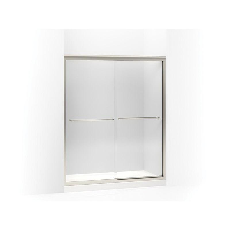 Kohler® 702206-L-MX Sliding Shower Door, Fluency®, Frameless Frame, Clear Tempered Glass, Matte Nickel, 1/4 in THK Glass, 66 in H Opening, 56-5/8 to 59-5/8 in W Opening