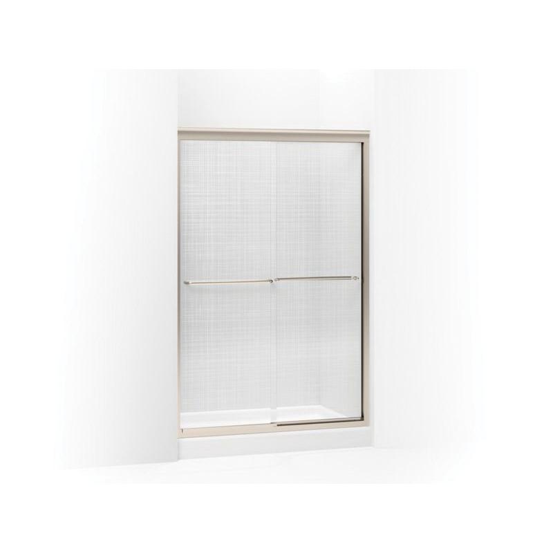 Kohler® 702208-G73-ABV Sliding Shower Door, Frameless Frame, Tempered Cavata Glass, Anodized Brushed Bronze, 1/4 in THK Glass, 65-11/16 in H Opening, 44-5/8 to 47-5/8 in W Opening, Fluency®