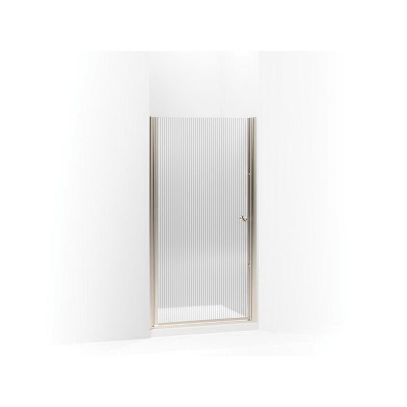 Kohler® 702408-G54-ABV Pivot Shower Door, Tempered Glass, Frameless Frame, Anodized Brushed Bronze, 33-3/4 to 35-1/4 in W Opening, 1/4 in THK Glass