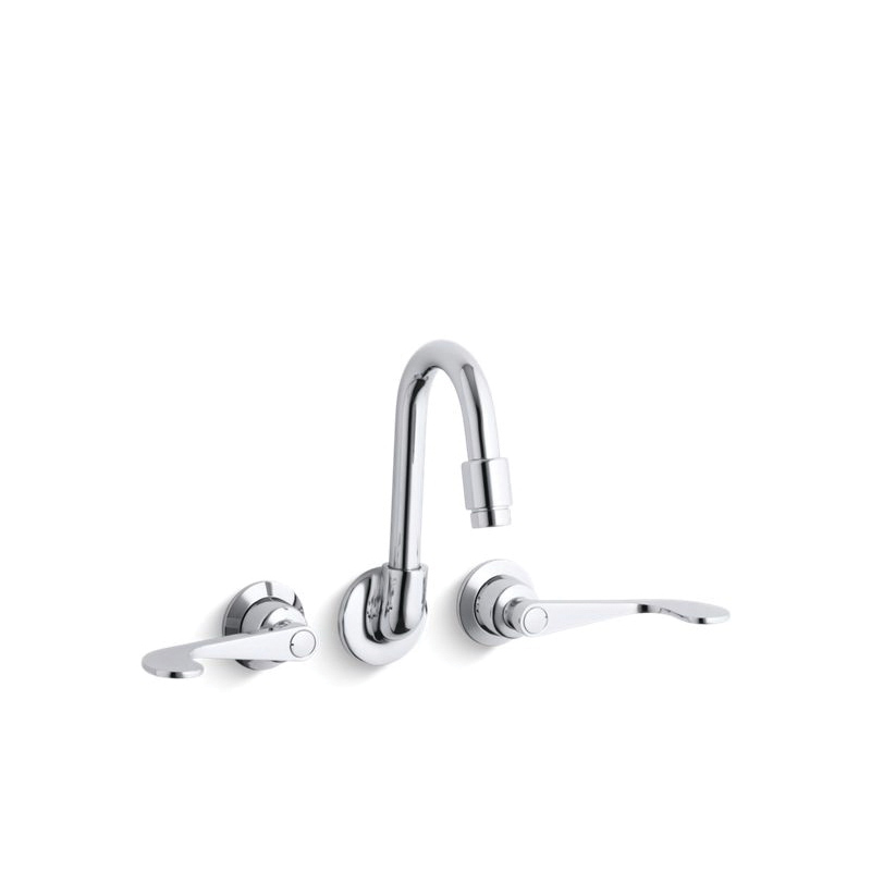 Kohler® 7302-5A-CP Shelf-Back Sink Faucet, Wall Mount, 2 Handles, 5-1/2 in Center, 2.2 gpm, Polished Chrome