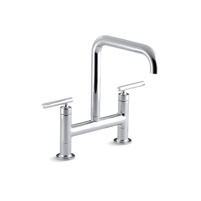 Kohler® 7547-4-CP Purist® Bridge Faucet, 1.8 gpm Flow Rate, 8 in Center, High-Arc Spout, Polished Chrome, 2 Handles