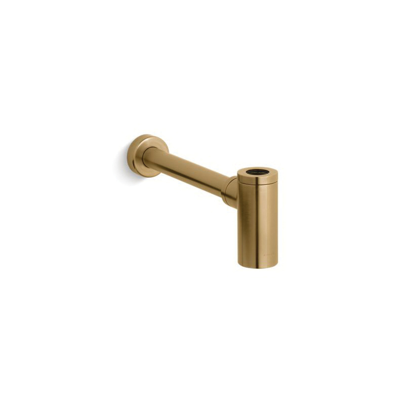 Kohler® 9033-BGD Contemporary Style Bottle Trap, 1-1/4 in Inlet x 1-1/4 in Outlet, Solid Brass, Vibrant® Moderne Brushed Gold, Slip-Fit Connection