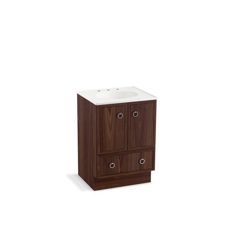 Kohler® 99501-TK-1WE Bathroom Vanity Cabinet With Toe Kick, Jacquard™, 34-1/2 in OAH x 24 in OAW x 21-7/8 in OAD, Freestanding Mount, Terry Walnut Cabinet