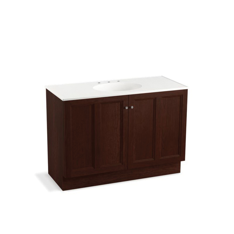 Kohler® 99521-TK-1WG Bathroom Vanity Cabinet With Toe Kick, Damask®, 34-1/2 in OAH x 48 in OAW x 21-7/8 in OAD, Freestanding Mount, Cherry Tweed Cabinet
