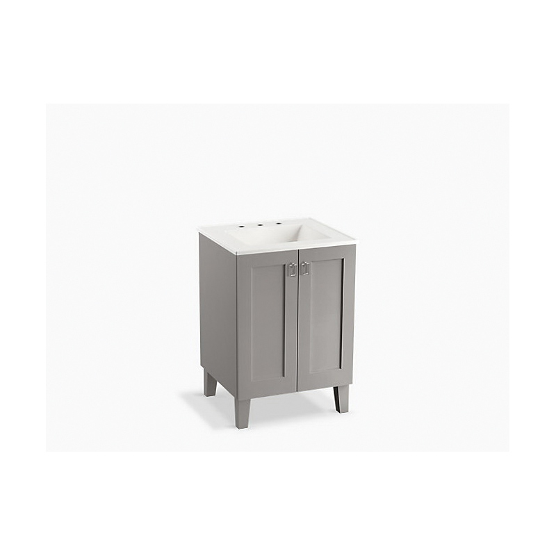 Kohler® 99526-LG-1WT Standard Bathroom Vanity Cabinet With Furniture Legs, Poplin®, 34-1/2 in OAH x 24 in OAW x 21-7/8 in OAD, Freestanding Mount, Mohair Gray Cabinet