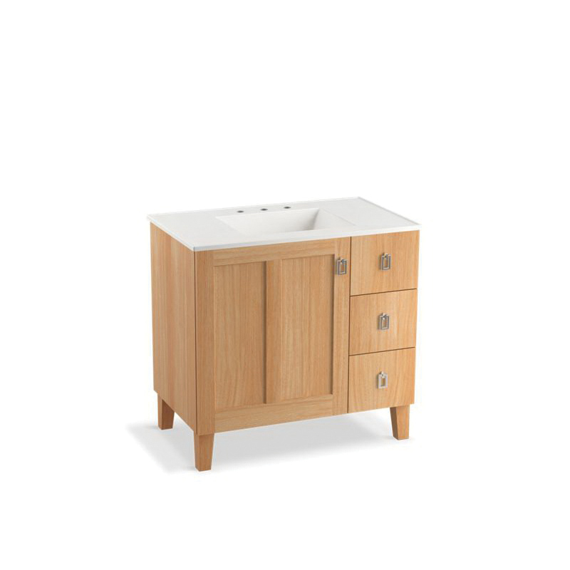 Kohler® 99533-LGR-1WF Standard Bathroom Vanity Cabinet With Furniture Legs, Poplin®, 34-1/2 in OAH x 36 in OAW x 21-7/8 in OAD, Freestanding Mount, Khaki White Oak Cabinet