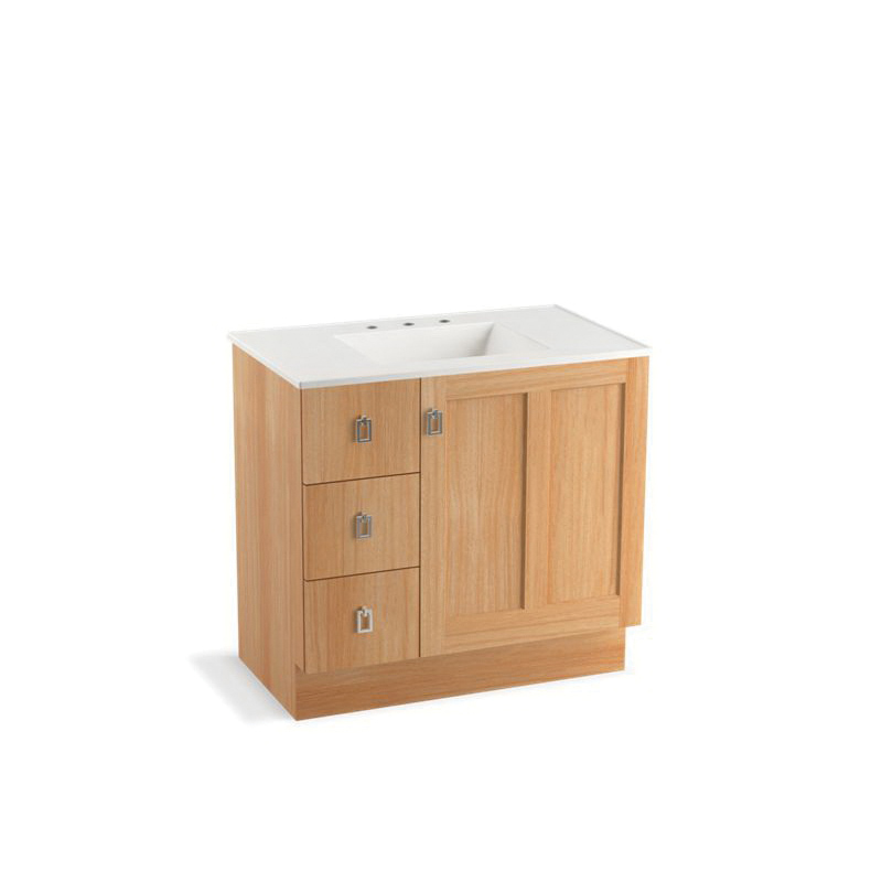 Kohler® 99533-TKL-1WF Bathroom Vanity Cabinet With Toe Kick, Poplin®, 34-1/2 in OAH x 36 in OAW x 21-7/8 in OAD, Freestanding Mount, Khaki White Oak Cabinet