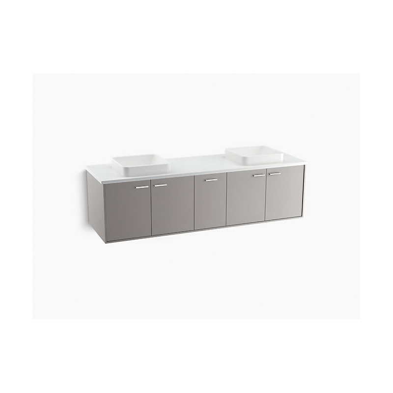 Kohler® 99550-SD-1WT Bathroom Vanity Cabinet With Split Top Drawer, Jute®, 19-1/2 in OAH x 72 in OAW x 21-7/8 in OAD, Wall Mount, Mohair Gray Cabinet