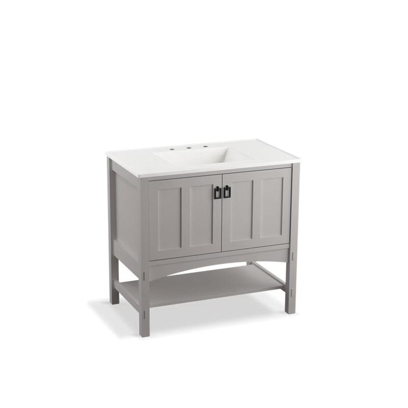 Kohler® 99555-1WT Bathroom Vanity Cabinet, Marabou®, 34-1/2 in OAH x 36 in OAW x 21-7/8 in OAD, Freestanding Mount, Mohair Gray Cabinet