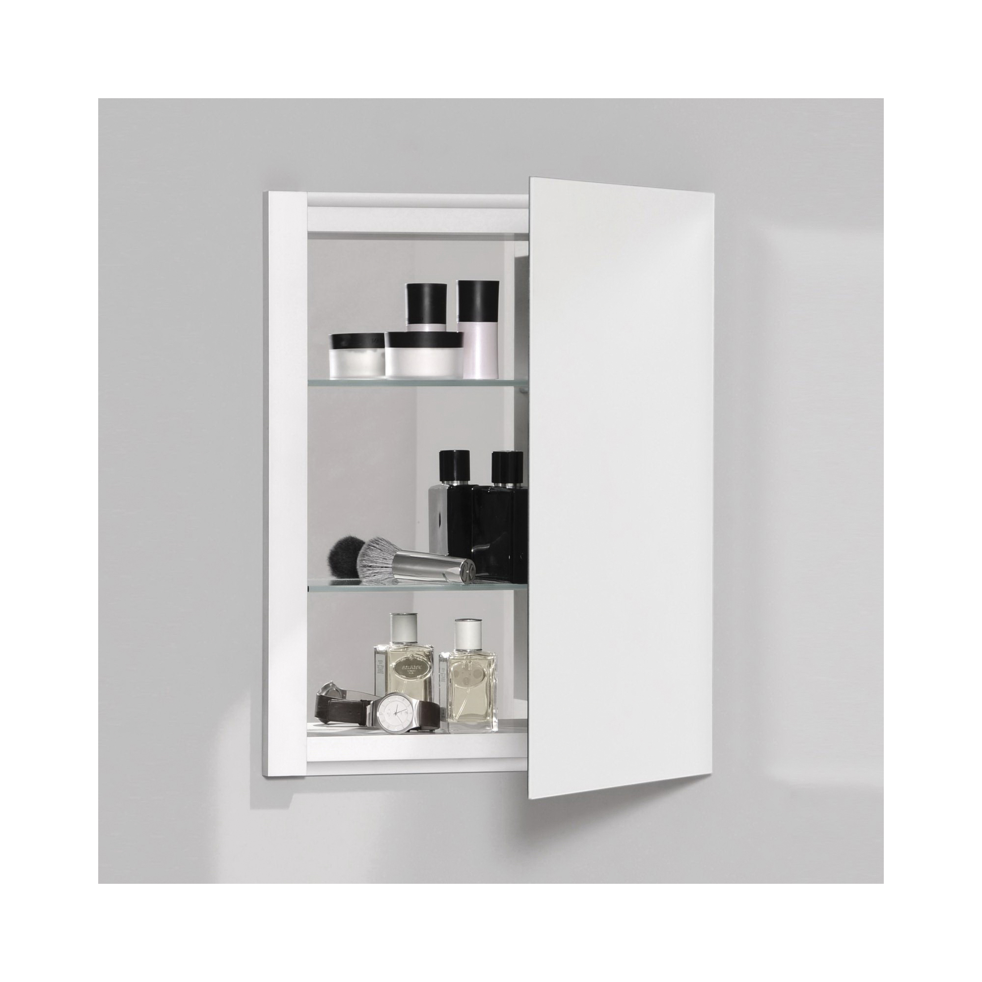 Robern® RC1626D4FB1 Single Door Medicine Cabinet With Interior Beveled Edge Front Mirror, R3 Series, 16 in OAW x 20 in OAH, Aluminum, Satin Anodized