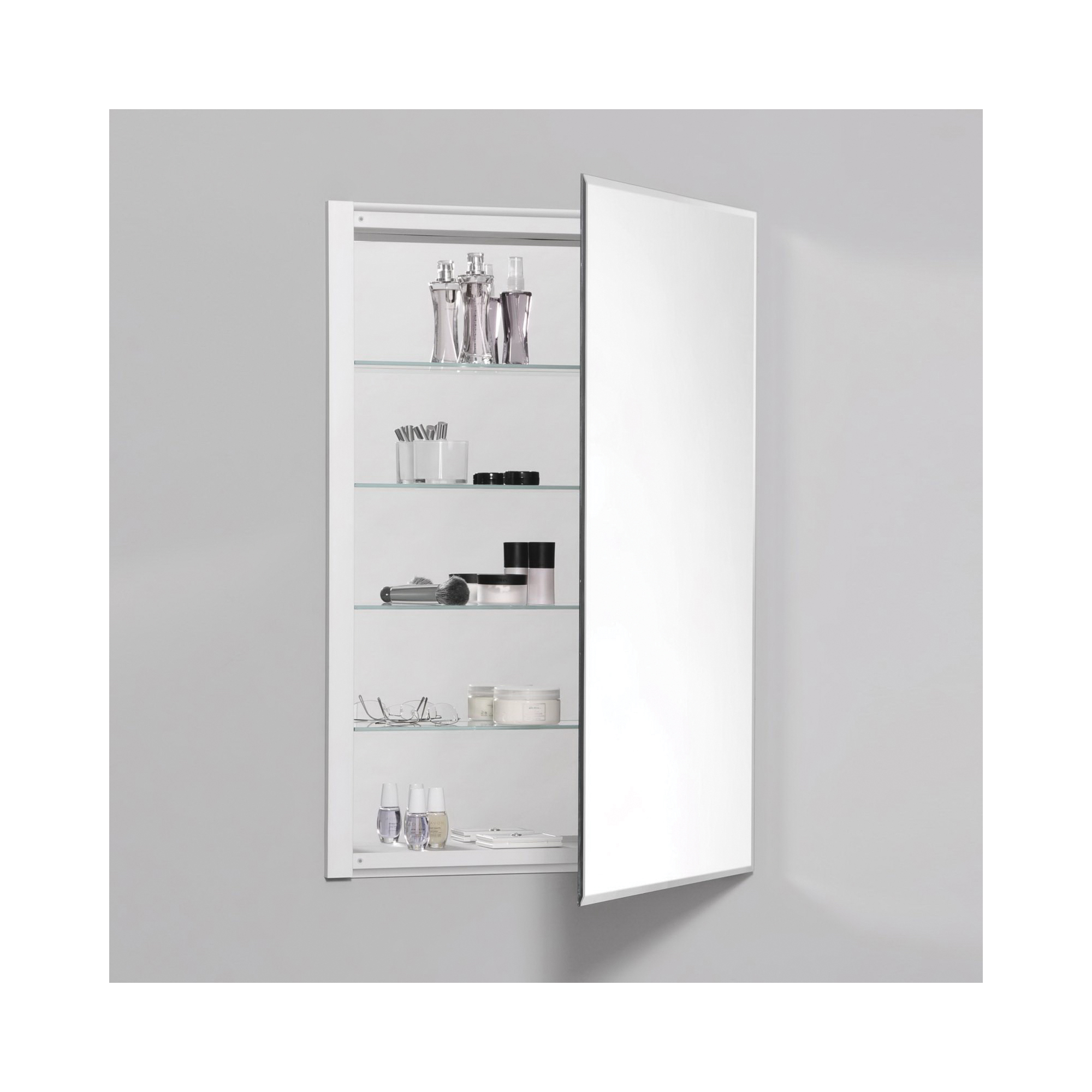 Robern® RC2436D4FB1 Single Door Medicine Cabinet With Interior Beveled Edge Front Mirror, R3 Series, 24 in OAW x 36 in OAH, Aluminum, Satin Anodized